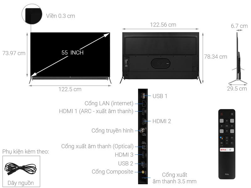 Thông số kỹ thuật Android Tivi QLED TCL 4K 55 inch 55C815