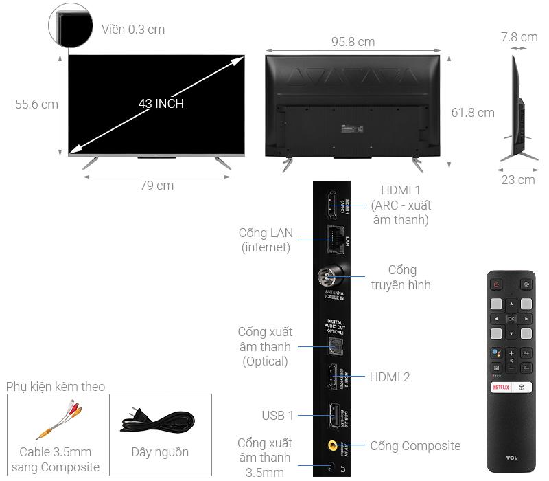 Thông số kỹ thuật Android Tivi TCL 43 inch 43P715