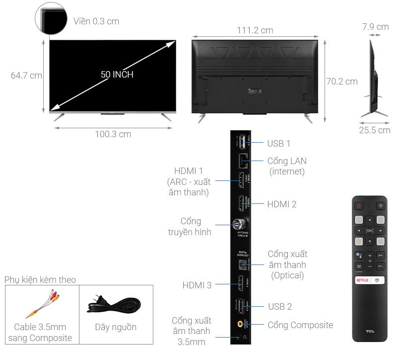 Thông số kỹ thuật Android Tivi TCL 50 inch 50P715