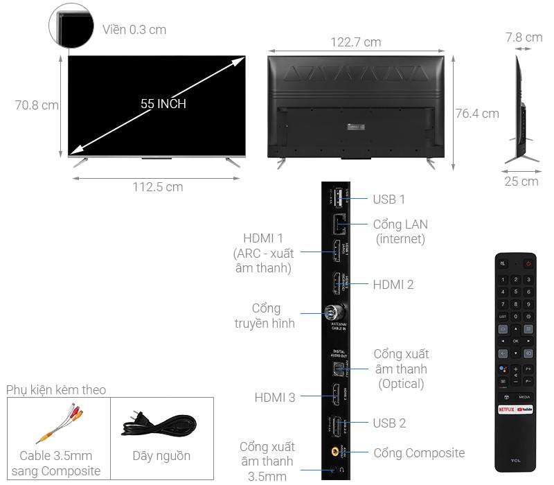 Thông số kỹ thuật Android Tivi TCL 55 inch 55P715