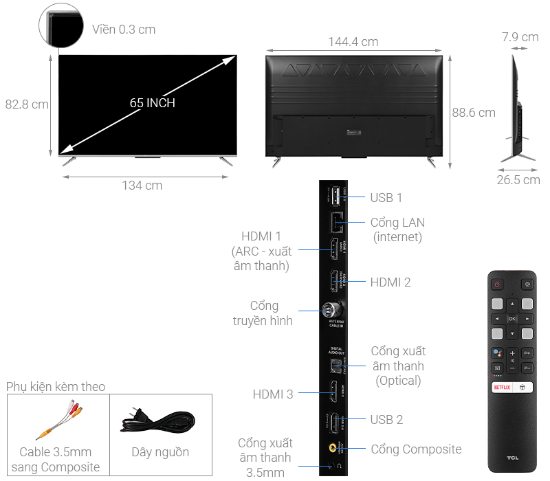 Thông số kỹ thuật Android Tivi TCL 65 inch 65P715