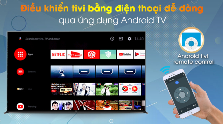 Android Tivi Sony 8K 85 inch KD-85Z8H - Điều khiển tivi qua ứng dụng Android TV