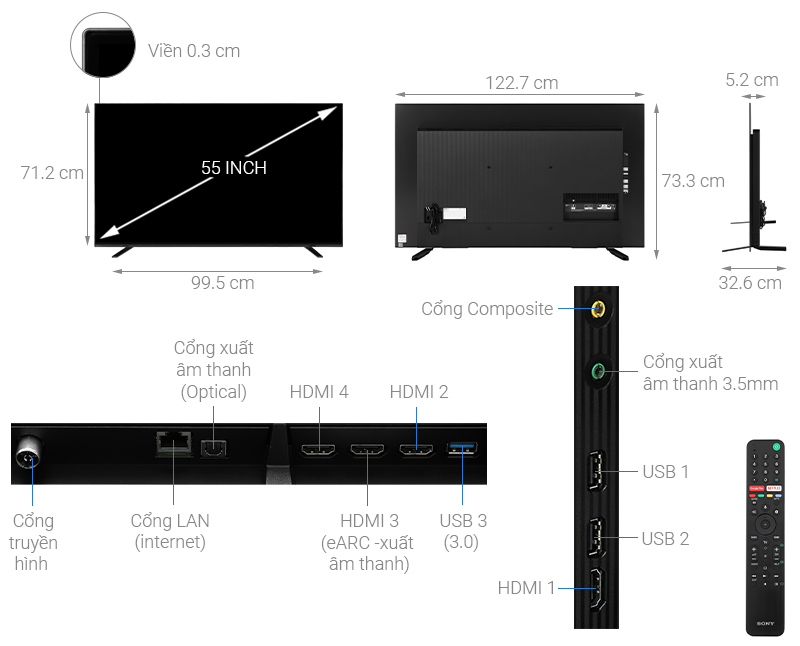 Thông số kỹ thuật Android Tivi OLED Sony 4K 55 inch KD-55A8H
