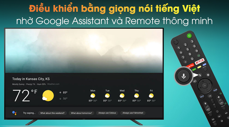Android Tivi OLED Sony 4K 55 inch KD-55A8H - Remote thông minh