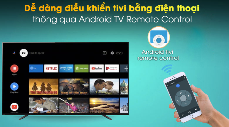 Android Tivi OLED Sony 4K 55 inch KD-55A8H - Android TV Remote Control