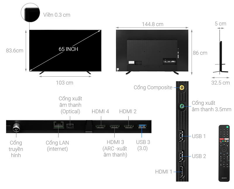 Thông số kỹ thuật Android Tivi OLED Sony 4K 65 inch KD-65A8H