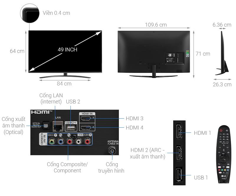 Thông số kỹ thuật Smart Tivi NanoCell LG 4K 49 inch 49NANO81TNA