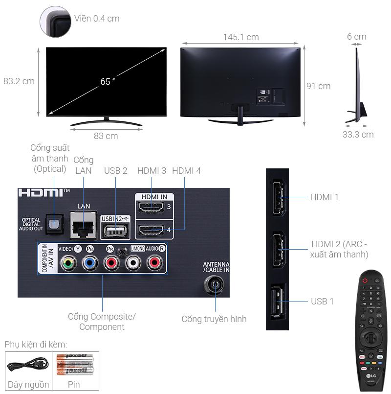 Thông số kỹ thuật Smart Tivi LG 4K 65 inch 65NANO81TNA