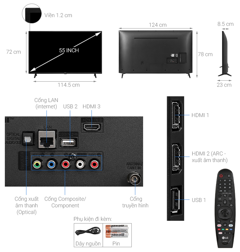 Thông số kỹ thuật Smart Tivi LG 4K 55 inch 55UN7290PTF
