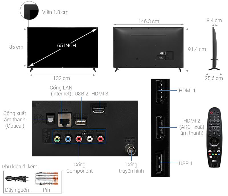 Thông số kỹ thuật Smart Tivi LG 4K 65 inch 65UN7290PTF