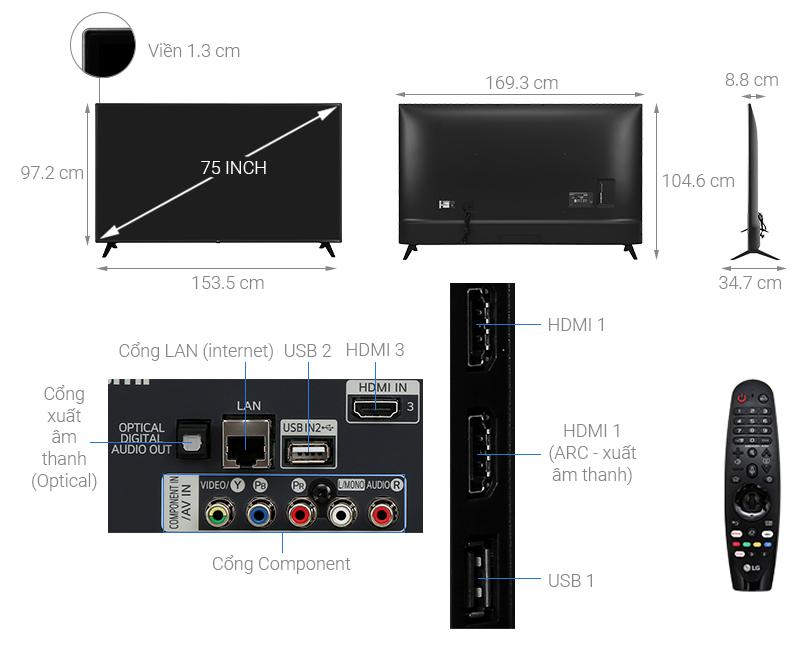 Thông số kỹ thuật Smart Tivi LG 4K 75 inch 75UN7290PTD