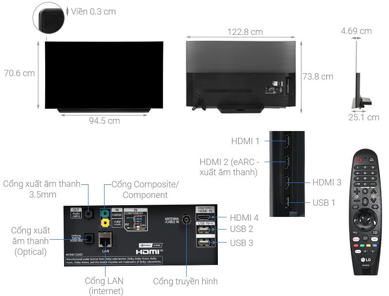 Thông số kỹ thuật Smart Tivi OLED LG 4K 55 inch 55CXPTA
