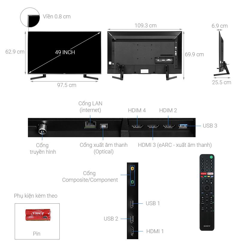 Thông số kỹ thuật Android Tivi Sony 4K 49 inch KD-49X9500H