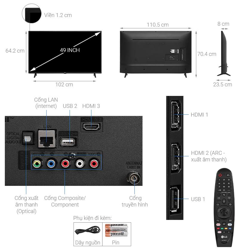 Thông số kỹ thuật Smart Tivi LG 4K 49 inch 49UN7290PTF
