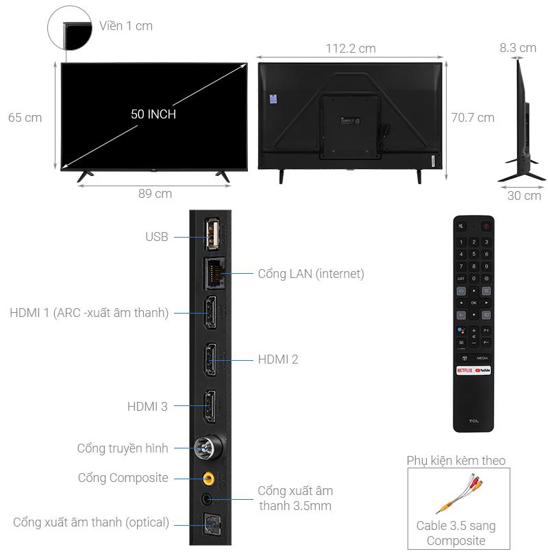 Thông số kỹ thuật Android Tivi TCL 4K 50 inch 50P615