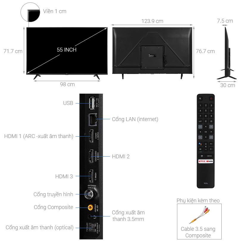 Thông số kỹ thuật Android Tivi TCL 4K 55 inch 55P615