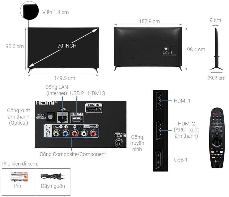 Thông số kỹ thuật Smart Tivi LG 4K 70 inch 70UN7300PTC