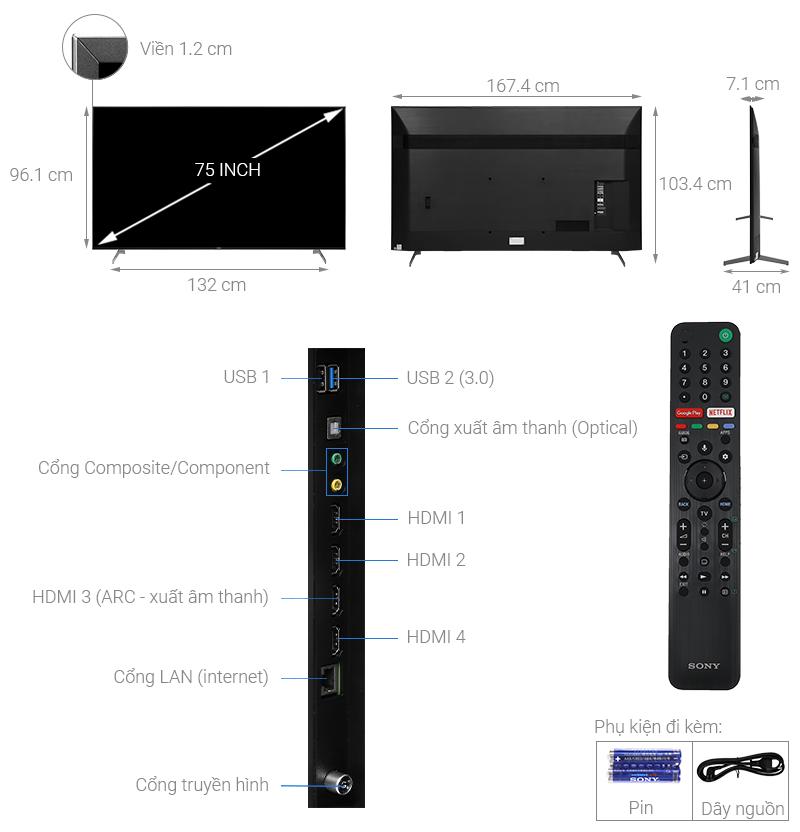 Thông số kỹ thuật Android Tivi Sony 4K 75 inch KD-75X9000H