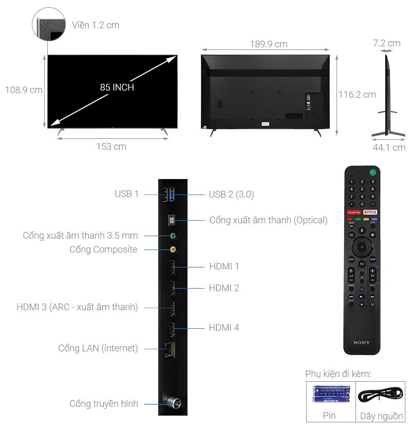 Thông số kỹ thuật Android Tivi Sony 4K 85 inch KD-85X9000H