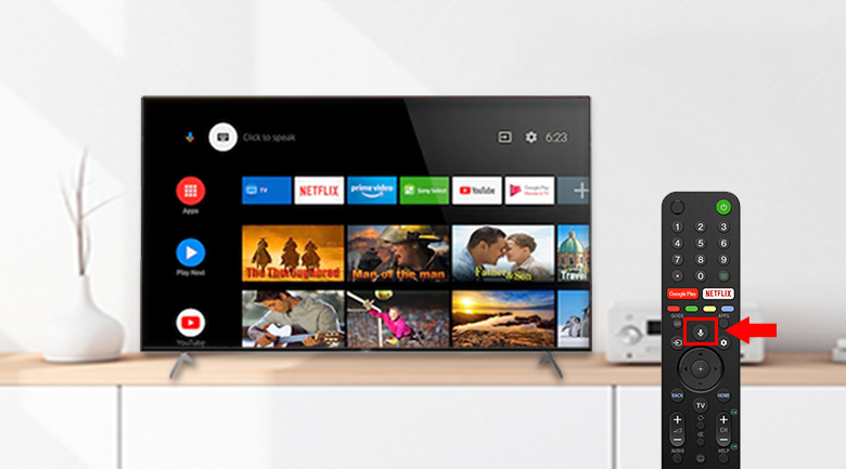 Google Assistant và remote thông minh - Android Tivi Sony 4K 85 inch KD-85X9000H