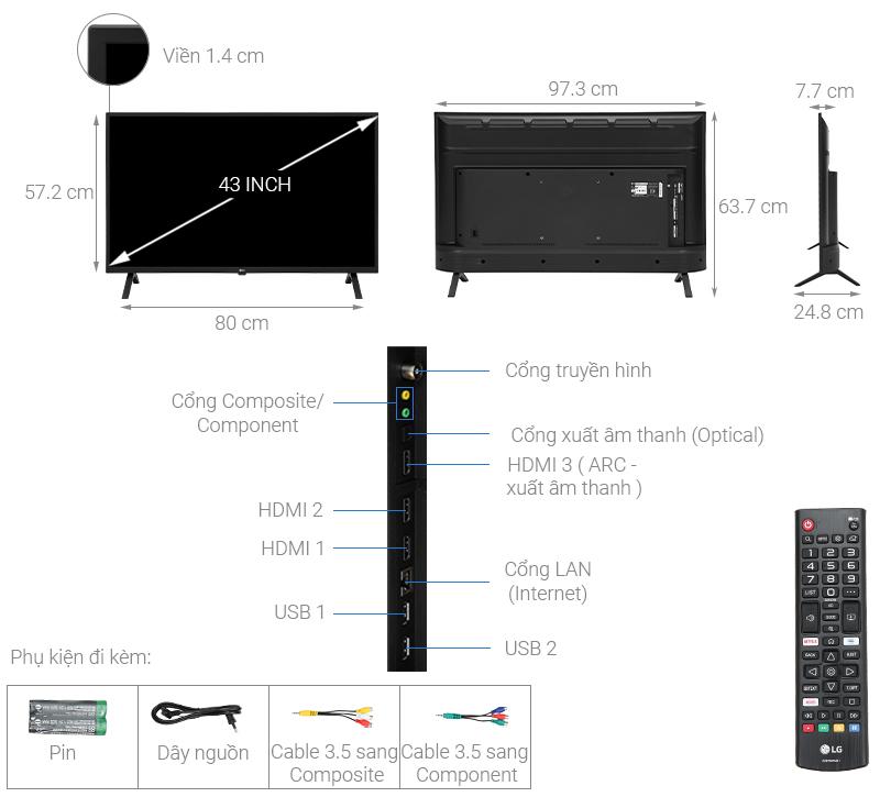 Thông số kỹ thuật Smart Tivi LG 4K 43 inch 43UN7000PTA