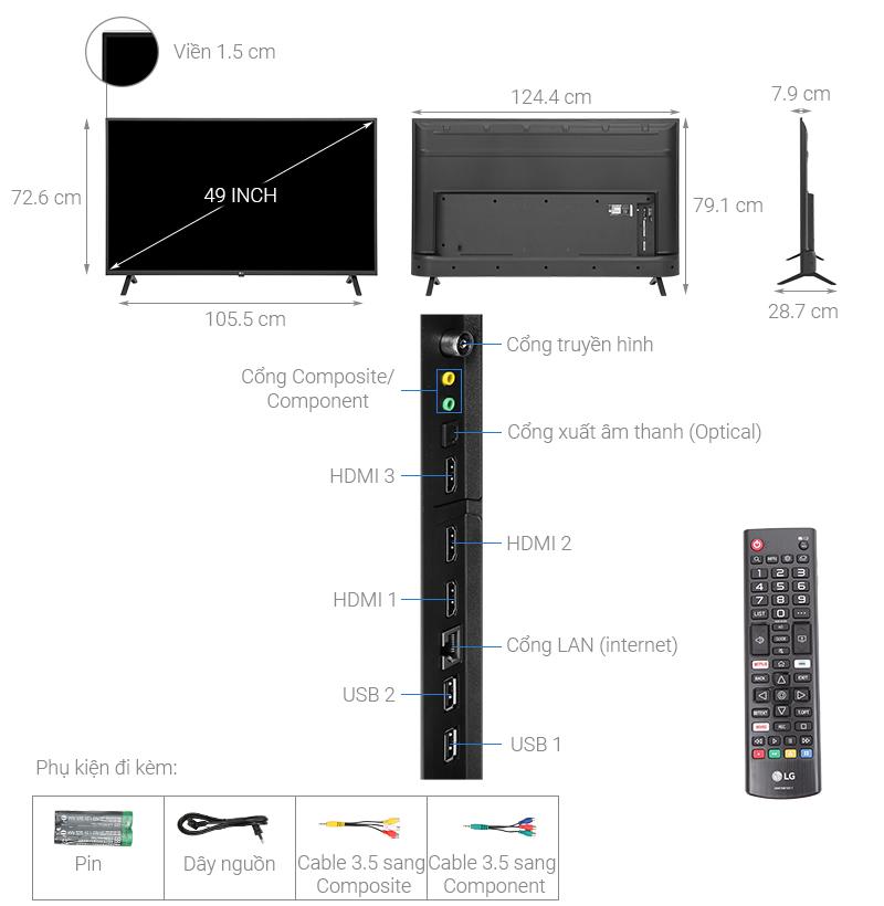 Thông số kỹ thuật Smart Tivi LG 4K 55 inch 55UN7000PTA