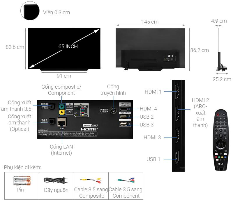 Thông số kỹ thuật Smart Tivi OLED LG 4K 65 inch 65CXPTA