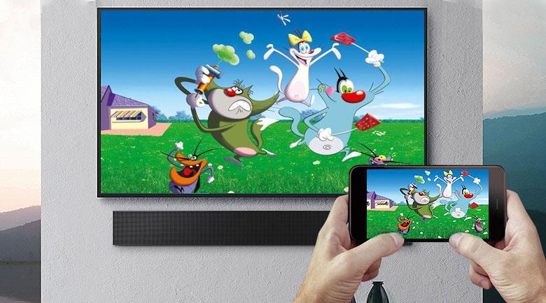 Smart Tivi The Terrace QLED Samsung 4K 75 inch QA75LST7T - Chiếu màn hình lên tivi