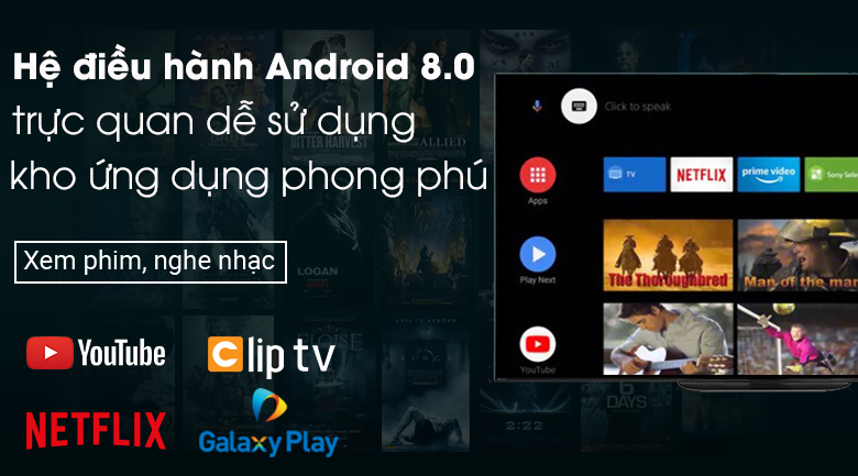 Android Tivi OLED Sony 4K 77 inch KD-77A9G - Android 8.0