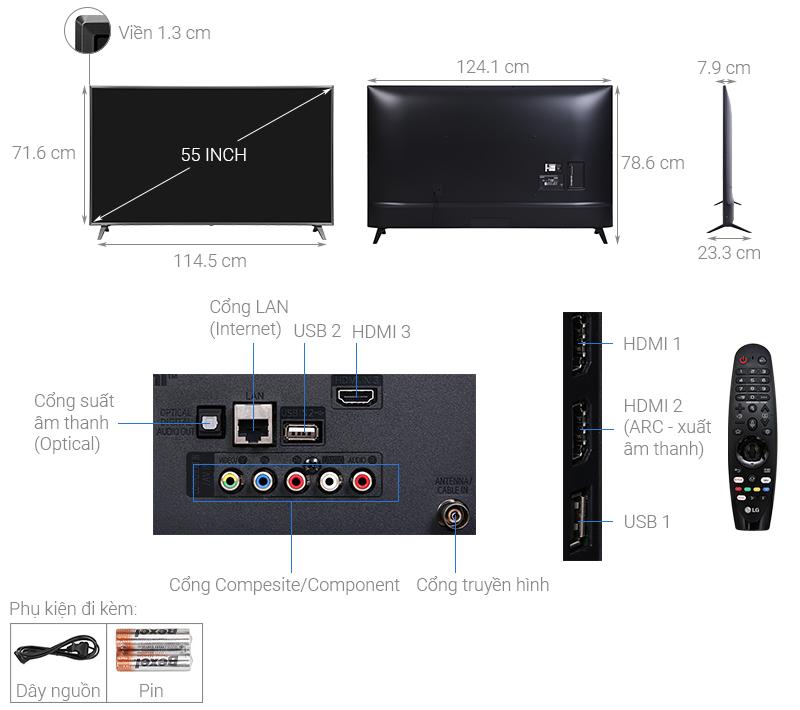 Thông số kỹ thuật Smart Tivi NanoCell LG 4K 55 inch 55NANO79TND