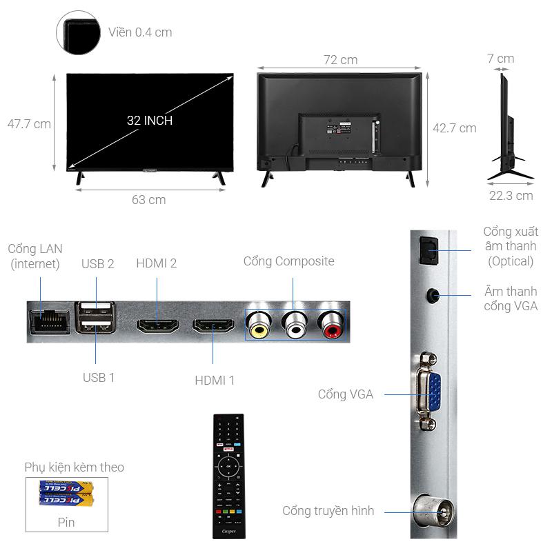 Thông số kỹ thuật Smart Tivi Casper 32 inch 32HX6200