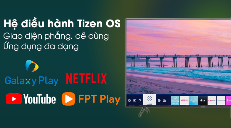 Smart Tivi Samsung 4K 70 inch UA70TU7000 - Sử dụng thân thiện, nhẹ nhàng với hệ điều hành Tizen OS