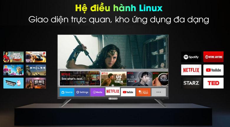 Giao diện dễ sử dụng, kho ứng dụng phong phú với hệ điều hành Linux - Smart Tivi Casper 43 inch 43FX6200