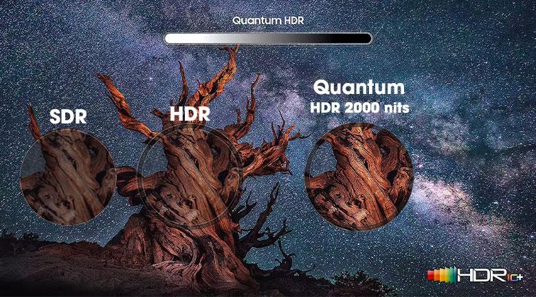 Tăng cường độ sáng trên từng khung hình hiển thị với công nghệ Quantum HDR 2000 nits