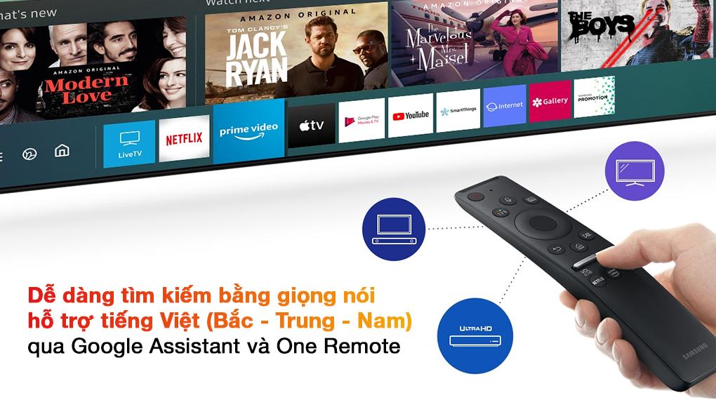 Smart Tivi QLED 4K 55 inch Samsung QA55Q70A Google Assistant và One Remote