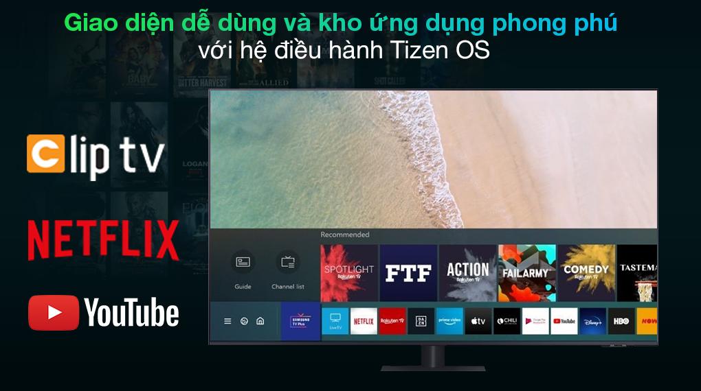 Smart Tivi QLED 4K 65 inch Samsung QA65Q70A Hệ điều hành Tizen OS