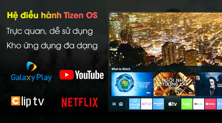 Hệ điều hành Tizen OS - Smart Tivi Samsung 4K 43 inch UA43AU8100