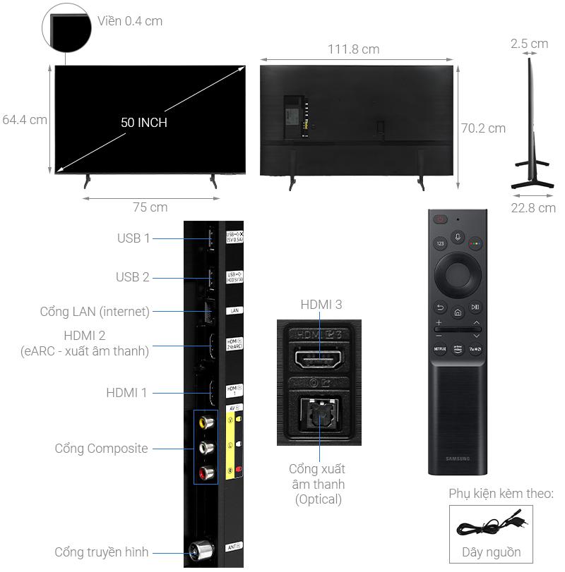 Smart Tivi Samsung 4K Crystal UHD 50 inch UA50AU8100