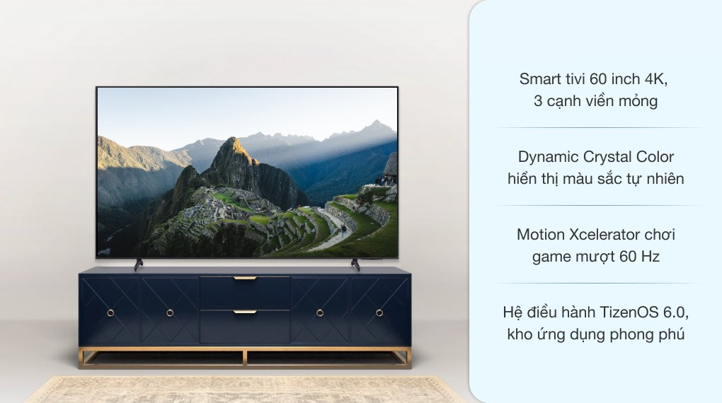 Smart Tivi Samsung 4K Crystal UHD 60 inch UA60AU8100