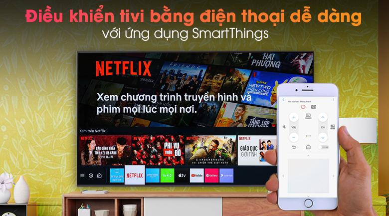 Smart Tivi Samsung 4K 70 inch UA70AU8100 - Thoải mái điều khiển tivi bằng điện thoại với ứng dụng SmartThings