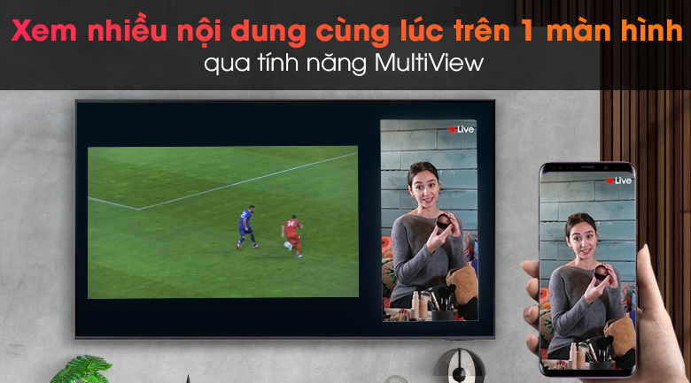 Smart Tivi Samsung 4K 70 inch UA70AU8100 - Chiếu màn hình điện thoại lên tivi tùy thích qua tính năng MultiView