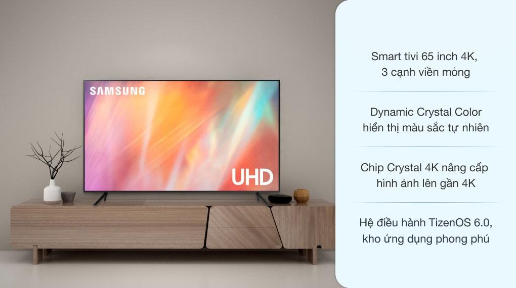 Smart Tivi Samsung 4K Crystal UHD 65 inch UA65AU7200