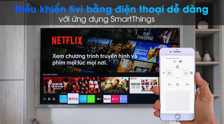 Smart Tivi Samsung 4K 75 inch UA75AU7000 - Sử dụng điện thoại điều khiển tivi dễ dàng với ứng dụng SmartThings
