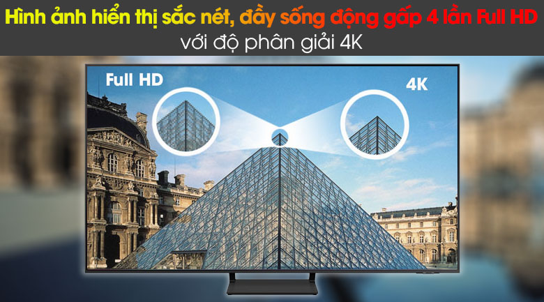 Smart Tivi QLED Samsung 4K 85 inch QA85Q60A - Độ phân giải Ultra HD 4K cho hình ảnh hiển thị sắc nét, đầy sống động