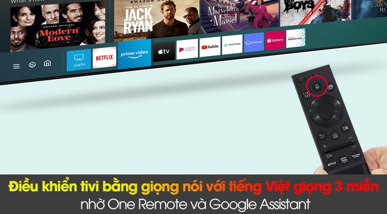Smart Tivi QLED Samsung 4K 85 inch QA85Q60A - Điều khiển bằng giọng nói với tiếng Việt giọng 3 miền Bắc - Trung - Nam nhờ One Remote và Google Assistant