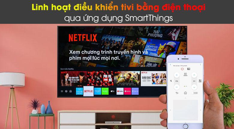 Smart Tivi QLED Samsung 4K 85 inch QA85Q60A - Linh hoạt điều khiển tivi bằng điện thoại với ứng dụng SmartThings
