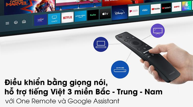 Samsung UA 65AU9000 này có Remote hỗ trợ tìm kiếm bằng giọng nói