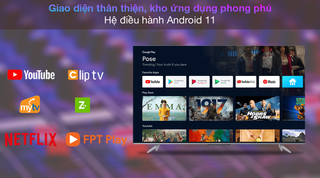 Android Tivi TCL 4K 55 inch 55P725 - Android 11