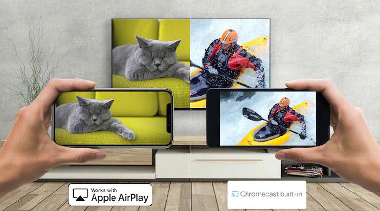 Android Tivi OLED Sony 4K 65 inch XR-65A90J - Chia sẻ nội dung từ điện thoại lên tivi dễ dàng qua tính năng Chromecast, Apple AirPlay