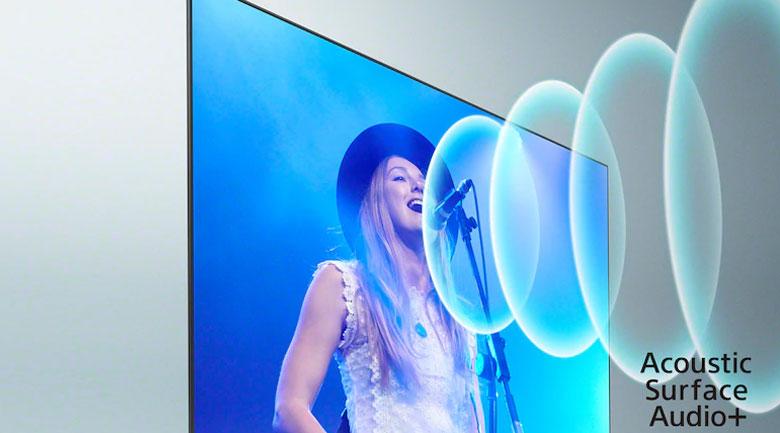 Android Tivi OLED Sony 4K 65 inch XR-65A90J - Tận hưởng âm thanh phát ra từng màn hình đầy trung thực nhờ công nghệ Acoustics Surface Audio+